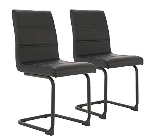 Asukale Esszimmerstühle 2er Set Freischwinger Schwingstuhl Bürostuhl Polsterstuhl mit Metallbeine Schwarz