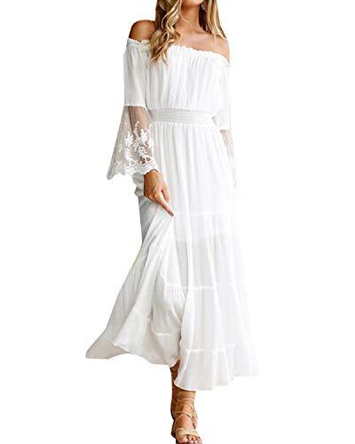 Style Dome Damen Schulterkleid Langarm Boho Kleid Blumenmuster Strandkleid Sommerkleider Lang Maxikleid 3 Weiß XL