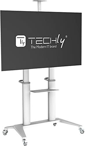 Techly 362183 - Soporte de suelo para televisores de 70' a 120', color blanco