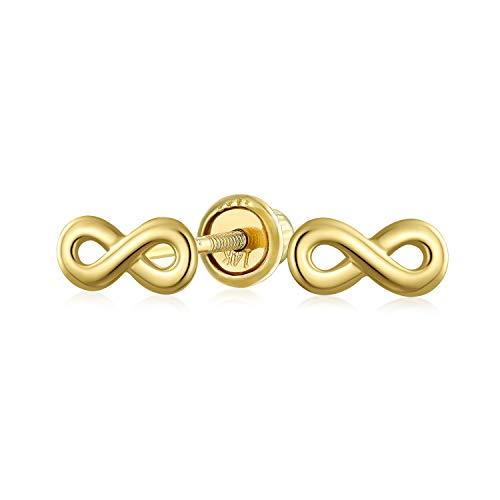 El Símbolo De Infinito Minimalista Diminutos Pendiente De Boton Para Mujer Adolescente Novia Real Oro Amarillo 14K