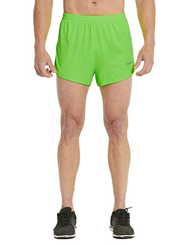 BALEAF Men's 3 Inches Running Shorts Reflective Active Gym Workout Shorts Fluorescence Green Size M