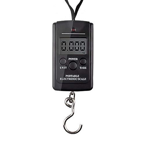 Báscula digital portátil 40 kg mini báscula de pesca digital equipaje de viaje báscula electrónica gancho de sujeción de pesaje negro-sin luz de fondo