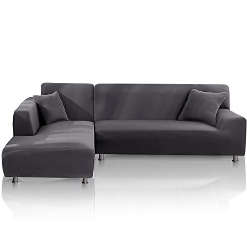 TOPOWN Funda para sofá Chaise Longue Impermeable, Funda para Sofa en Forma L, Funda Chaise Longue Derecho/Izquierdo de 3 Asientos + 3 Asientos, con 2 Fundas de cojín, Gris