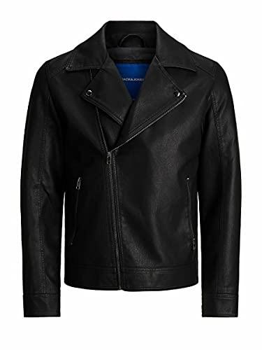 Jack & Jones JORNOLAN Biker Jacket PS Blouson en Simili-Cuir, Noir, XXXXL Homme