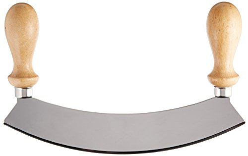 Stainless Steel Rocking Mezzaluna Knife with Wood Handles, 10 Inch