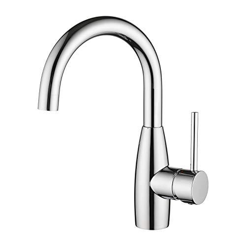 CREA Wasserhahn Bad, 360° Drehbare Waschtischarmatur Bad, Waschenbecken Armatur mit Hohem Auslauf, Mischbatterie für Badzimmer oder Kleine Küche, Chrom