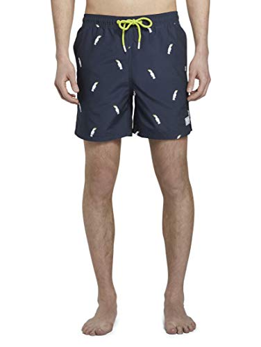 TOM TAILOR Denim Herren Swimshorts Boardshorts, 22031-navy Cockatoo Print, XXL