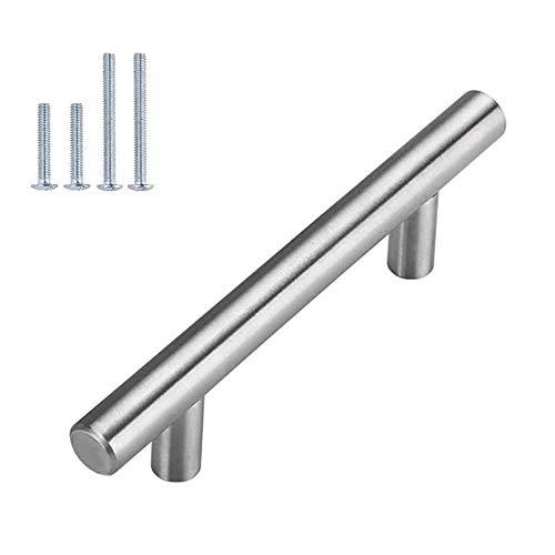 Brushed Nickel Cabinet Hardware Kitchen Cabinet Pulls 15 Pack Homdiy HD201SN 33/4 in Hole Centers T Bar Cupboard Drawer Pulls Stainless Steel