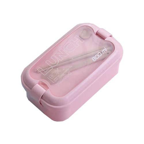 Bruce Dillon Weizenstroh Bento Box Gesundheitsmaterial Mikrowelle Geschirr Lebensmittel Aufbewahrungsbox Picknick tragbare Box - Pink