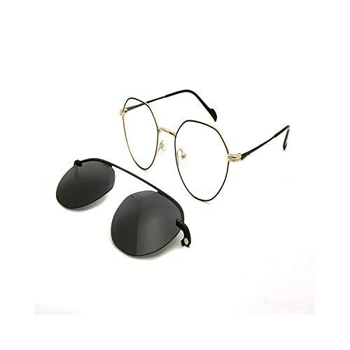 Vikimen Sportbrillen, Angeln Golfbrille,Retro Round Steampunk Optical Frames Women Men Eyeglasses With Magnets Clip On Sunglasses UV400 Goggles Light Eyewear Black Gold