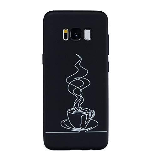 Yobby Silikon Hülle für Samsung Galaxy S8,Matt Schwarz Handyhülle mit Süß Muster Slim Weich Gummi Gel Schale,Coole Mode Stoßfest Rückseite Schutzhülle-Kaffee