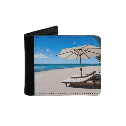 Cartera Delgada de Cuero para Hombre,Tumbona y sombrilla en una Hermosa Playa Tropical,Cartera Minimalista con Bolsillo Frontal Plegable