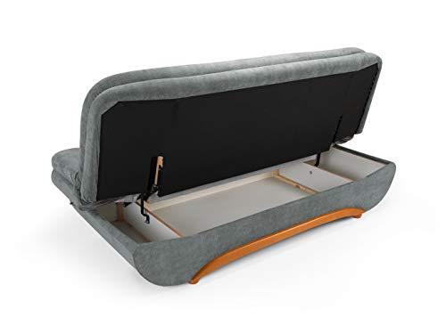 Honeypot - Sofa - Weronika - Storage Sofa Bed - 2 Seater - Footstool - Grey Fabric (2 Seater)