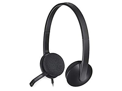 Logitech H340 Wired Headset, Stereo Headphones with Noise-Cancelling Microphone, USB, PC/Mac/Laptop - Black from Logitech