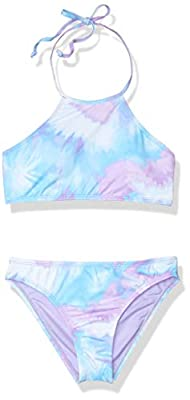 Hobie Girls' Big Neck Bikini Top and Hipster Bottom Swimsuit Set, Blue//high Tie Dye, 12