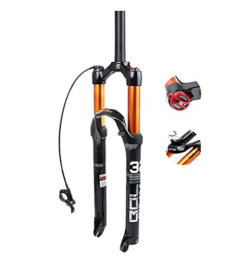 Mountainbike-Stoßdämpfer Vorderradgabel Luftgabel Stoßdämpfer Luftdruck Vorderradgabel Schultersteuerung/Drahtsteuerung gerades Rohr/Spinalkanal Fahrradzubehör(Color:Straight B,Size:27.5'')