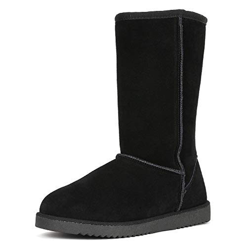 DREAM PAIRS Women's Shorty_high Black Mid Calf Winter Snow Boots Size 5 M US