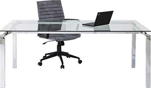 Kare 71571 Lorenco Table de Salle à Manger carrée avec Plateau en Verre et Structure chromée élégante 72 x 180 x 90 cm, argenté, (HxBxT) 72x180x90 cm