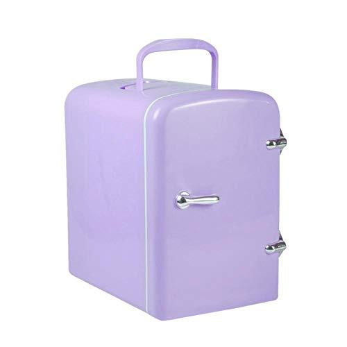 FIONAT Refrigerador de coche de 4L con calefacción por congelación DC12V / 100-240V 50 / 60H compresor de nevera para picnic en el hogar del coche 19 * 26,8 * 29 cm-púrpura_