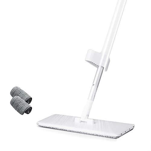 WYQAU Spray Mop 2 en 1 Hand Free Fregona Plana giratoria Lazy 360 en seco y húmedo para Utensilios de Limpieza de Madera laminada de Cocina doméstica-3 Almohadillas