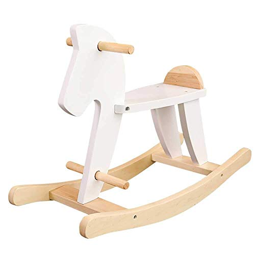 HYISHION Toy Child White Rocking Horse Baby Rocker Chair Toddler Rocker Toy Wooden Toddler Rocking Toy for Garden Entertainment Play SKYJIE