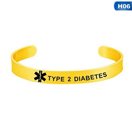 qupengyou Duurzame 7 Stijlen Medische Alert Id Armbanden Diabetes RVS Gegraveerde Noodsieraden Geschenken voor Unisex Vrouwen Mannen H06