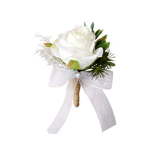 PRETYZOOM Hochzeit Boutonniere Brosche Strauß Corsage Klassische Künstliche Bräutigam Braut Blumen Rose Abschlussball Anzug Dekoration