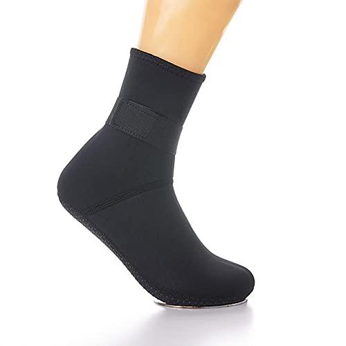 QAOSHOP Calcetines de neopreno para hombre y mujer, para buceo, para niños, térmicos, antideslizantes, elásticos, con aleta de agua, calcetines largos de agua, color negro, S