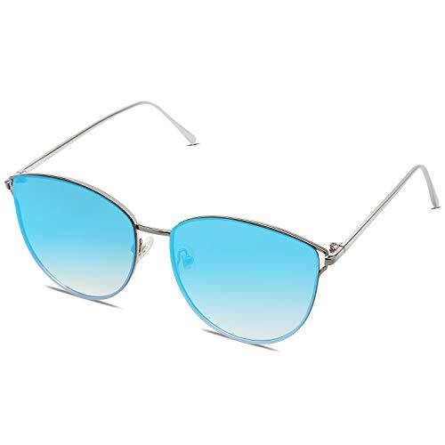 SOJOS Retro Runde Katzenaugen Sonnenbrille Mirrored Metall Flach Linsen SJ1085 mit Silber Rahmen/Blau Linse