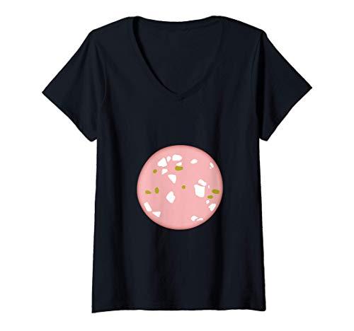 Damen Mortadella - Italienische Wurst T-Shirt mit V-Ausschnitt