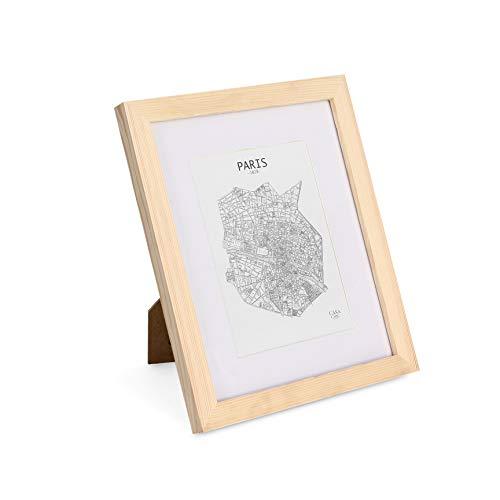 Classic by Casa Chic - Echtholz Bilderrahmen 20x25 cm - Kiefer Natur - mit 13x18 cm Passepartout - bruchfestes Sicherheitsglas - Rahmenbreite 2cm