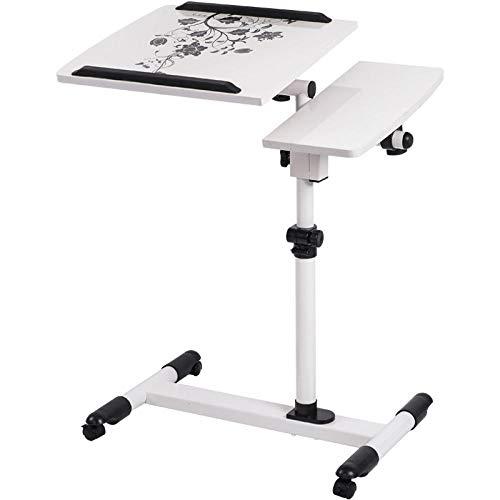 YTSFT Notebook Computer Table Bed Bureau Slaapkamer Woonkamer Moderne Koffietafel Verwijderbare Caster Bank Zijtafel Einde Tafel Kleur: wit