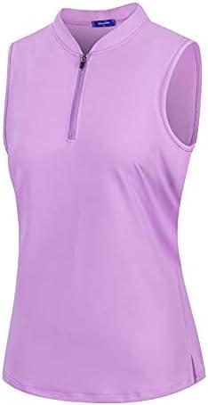 Moydan Womens Golf Polo Shirts Sleeveless Zip...