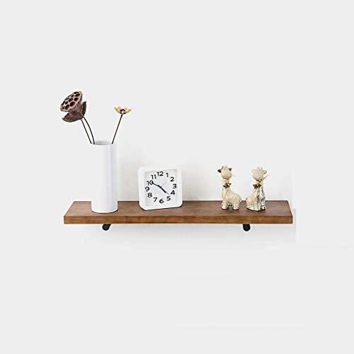 XZ15 Drijvend frame, massief houten vensterbank muur smeedijzeren frame muur opknoping creatieve boekenkast woonkamer bar decoratie (grootte: 80 * 20 * 3cm)