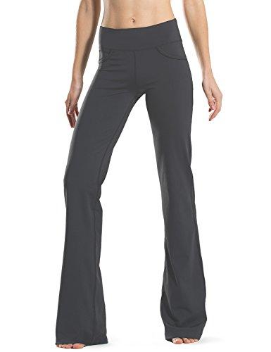 Safort Regular/Tall Bootcut Yoga Hose mit 71cm/76cm/81cm/86cm Schrittlänge, 4 Hosentaschen,Lange Bootleg-Hose, Flare-Hose, Grau, M