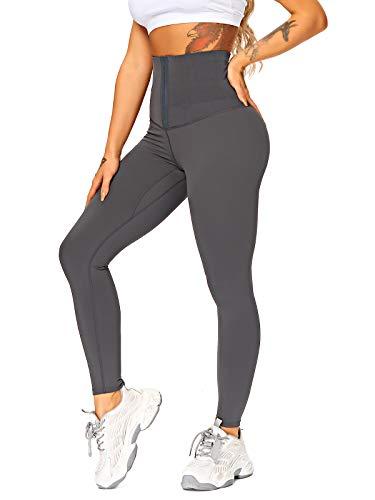 FITTOO Body Shaper Leggings Donna Pantaloni Controllo della Pancia Vita Alta Snellente Push Up Leggings Corsetto Sportivi per Fitness Yoga Palestra A-Grigio M