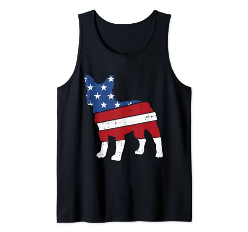 French Bulldog 4th Of July Cute Frenchie American Flag Dog Tank Top