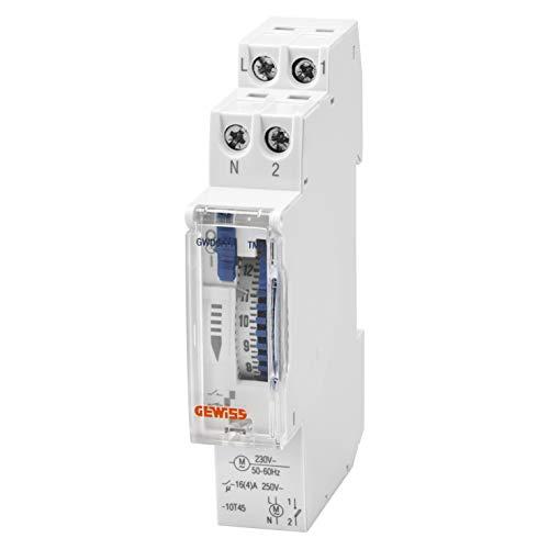 Interruptor horario analógico 24h, marca GEWISS - 1 contacto NA - 16A/230Vca - 1 Módulo DIN - sin pila para cortes de alimentación - GWD6771