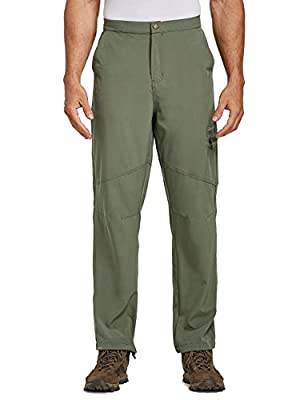 BALEAF Men's Hiking Cargo Pants Water Resistant UPF 50+ Quick Dry Lightweight Outdoor Pant Fishing Camping Green Size L