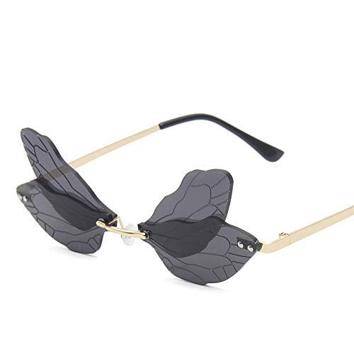Moda Gafas De Sol con Forma De Libélula De Lujo para Mujer, Gafas De Sol con Ondas Sin Montura, Pantallas De Metal para Mujer Vintage, Gafas De Espejo Uv400 C1