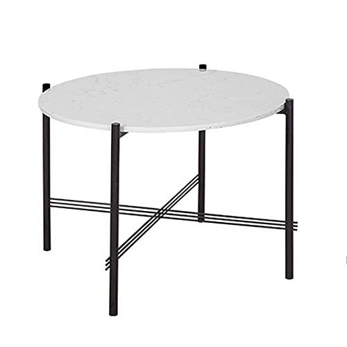 Huismeubilair Bijzettafel Woonkamer Salontafel Sofa Hoektafel Balkon Kleine ronde tafel wit marmeren tafelblad en zwart metalen frame 23.6×17.7