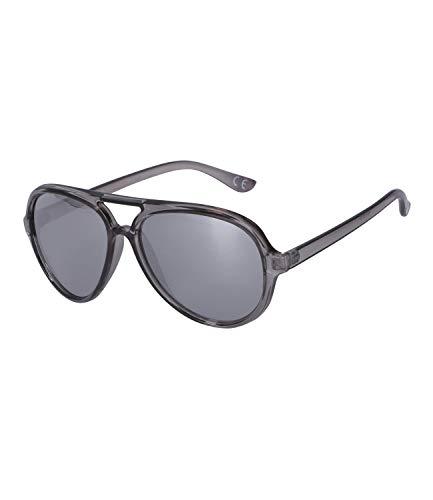 SIX Sonnenbrille im Piloten-Stil mit grau-transparenter Optik, Linsen-Kategorie 3, UV400-Filter, verspiegelt (326-301)