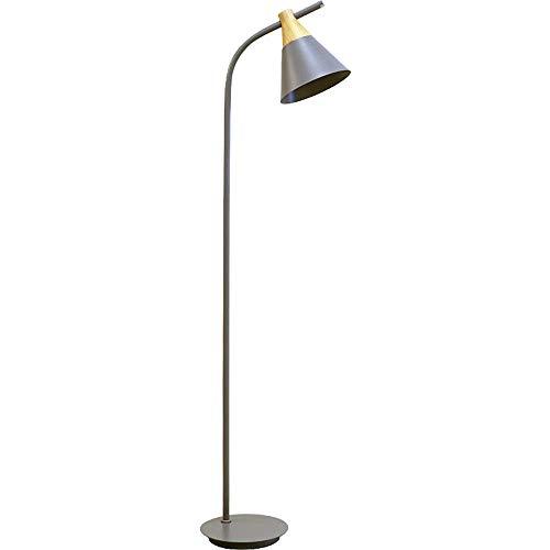 ZRABCD Led barngolvlampor, nordiska färger trä blå/grå/grön/rosa/gul järn läslampa golvlampa kreativt vardagsrum sovrum arbetsrum belysning golvbordslampa, grå fjärrstyrda