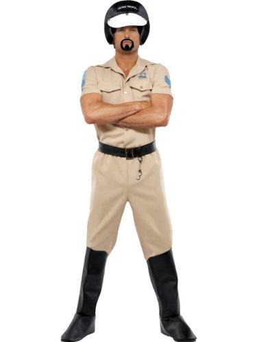 Village People Motorrad-Polizist Kostüm mit Hemd Hose Überstiefeln Helm und Gürtel, One Size