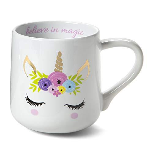 Tri-coastal Design - Taza de té/café con Tema de Animales Divertidos: Taza de Regalo de cerámica Hermosa (Unicorno Oro)