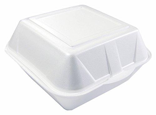 200 x Hamburger-Box Giant XXL • 215 x 210 x 105 mm • mit Klappdeckel • PS • weiß • laminiert • stabil • Einweg-Verpackung (200 Stück)