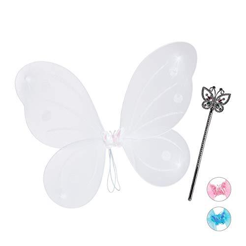 Relaxdays Feenflügel mit Zauberstab, Fee Kostüm Kinder, Flügel & Zepter, Glitzer, Mädchen, Feenset, weiß
