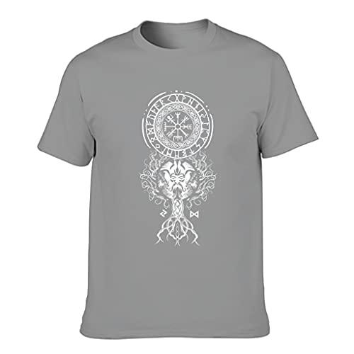STELULI Camiseta de algodón para hombre, diseño de símbolo vikingo, divertido y cómodo, manga corta