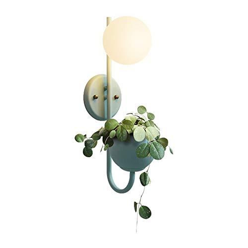 XCXDX Warm Grüne Pflanze Wandleuchte, Einfache Moderne Nachttischlampe, Schlafzimmer Wohnzimmer Studie Leselampe, E27 (Glühbirne Nicht Enthalten)