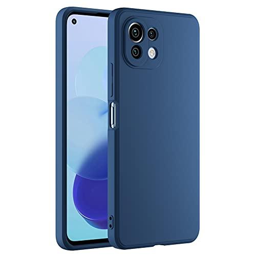 Cresee Compatible con Xiaomi Mi 11 Lite 4G / 5G, funda de silicona con [protección de cámara] [interior de fibra] Carcasa fina antiarañazos, antigolpes, color azul